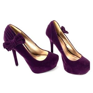 Deep purple suede stiletto heels with bow